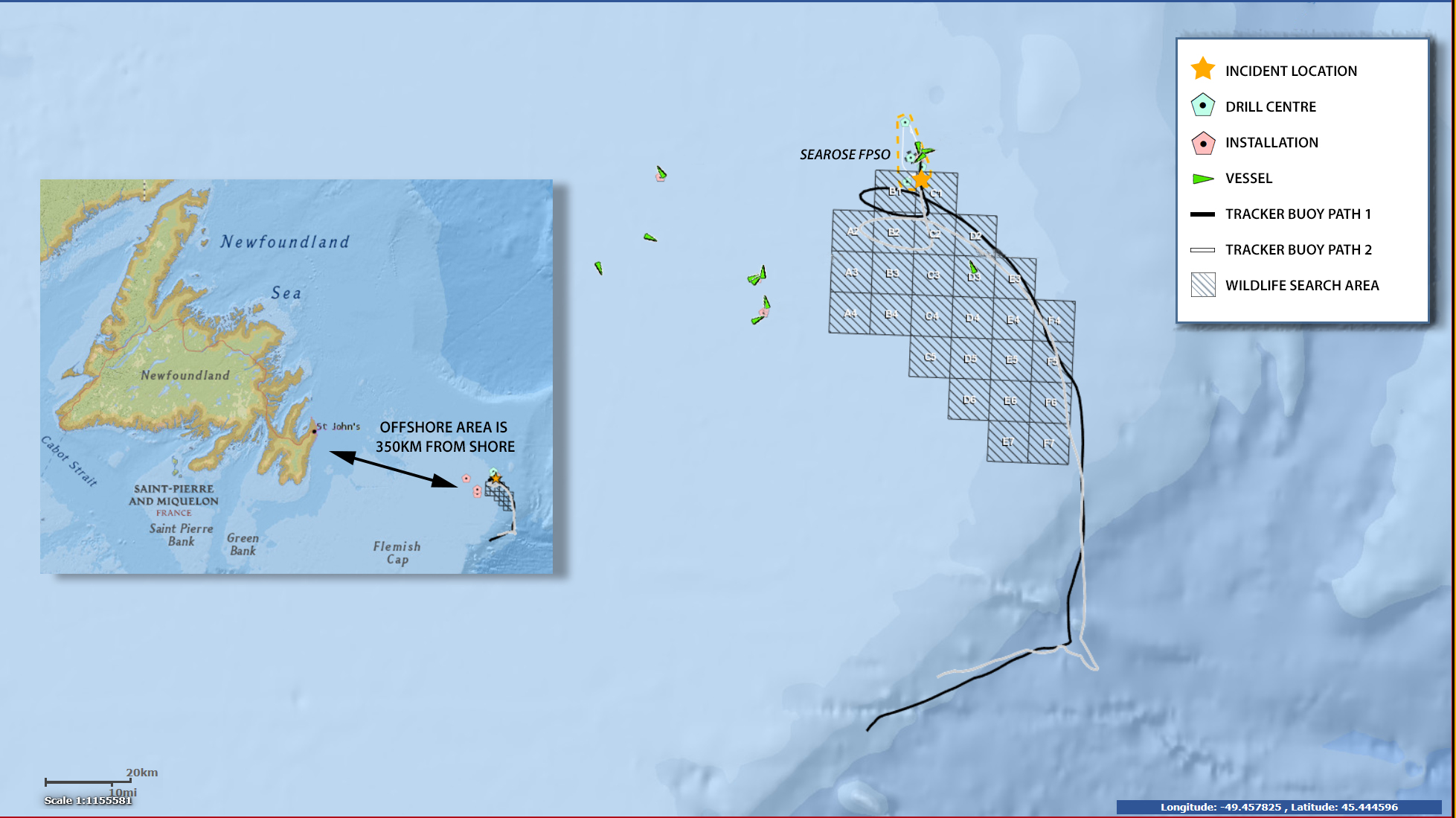 a map released by husky energy shows the location of where the oil spill occurred in the white rose oilfield